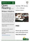 Open Reading - share your writing in this friendly, informal group