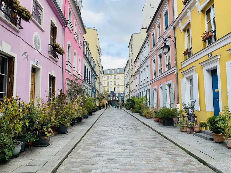 A Beautiful and Colorful Street in Paris