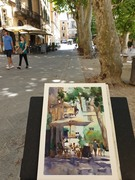 Amanda Brett watercolour artist light lucca italy en plein air