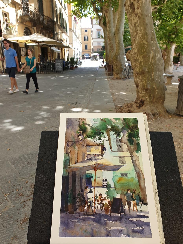 Amanda Brett watercolour artist light lucca italy en plein air