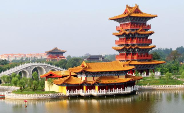 El parque del río en Qingming, China.