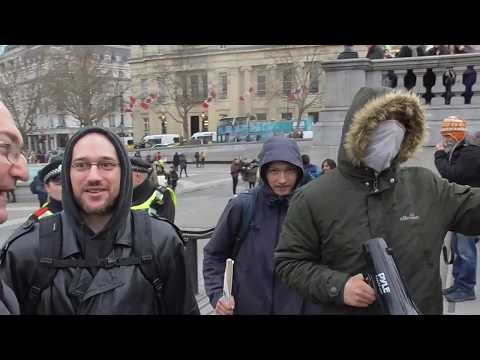 Lefty's get triggered over american flag Trafalgar square 11/01/2020