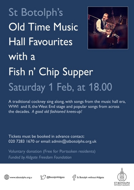 Saturday Supper and sing along music hall fun