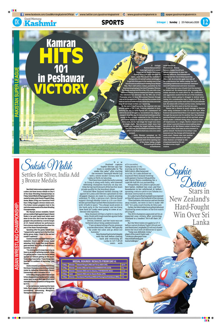 Good Morning Kashmir Sports Page 23-02-2020
