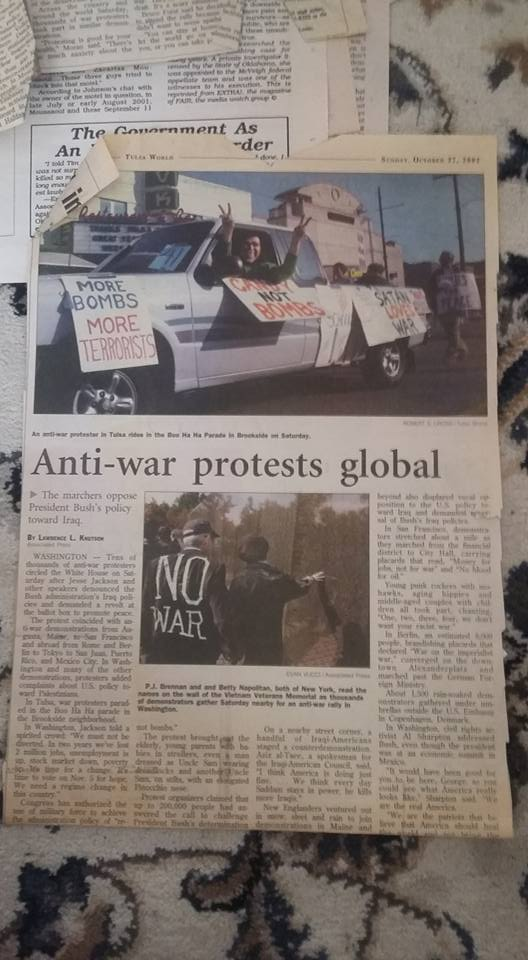 antiwar pro-peace demonstration covered in Tulsa World Jan2003_in the Halloween parade on Brookside