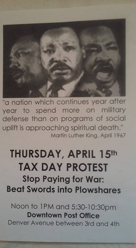 MLK tax day protest - TPF, at downtown Tulsa post office