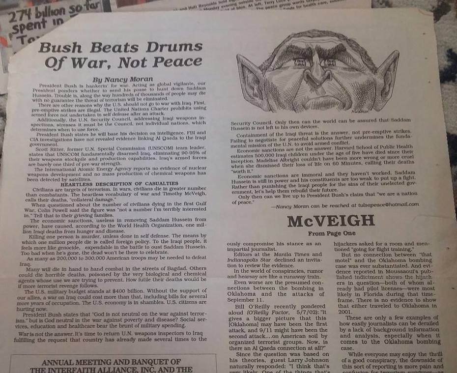 antiwar editorial by Nancy Moran, circa Nov2003