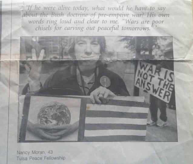 Nancy Moran_part of photo spread 2003 on DrMartinLutherKingJr and how local activists were carrying on his legacy_with Terry Luce