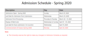 Virtual University of Pakistan (VU) Admission Schedule - Spring 2020