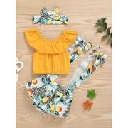 3-Piece Summer Fashion Baby Girl Off Shoulder Top & Fruit Suspender Shorts & Headband Set Wholesale Yellow front side