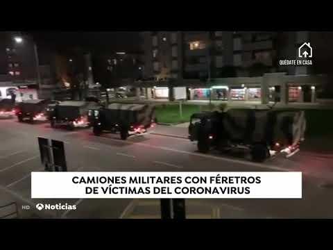 CAMIONES MILITARES TRANSPORTAN DECENAS DE FÉRETROS DE VÍCTIMAS DEL CORONAVIRUS - ITALIA