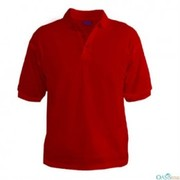 bright red polo shirt