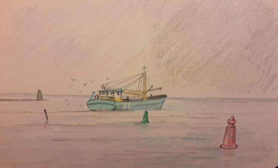 Mussel boat 'Branding' at work