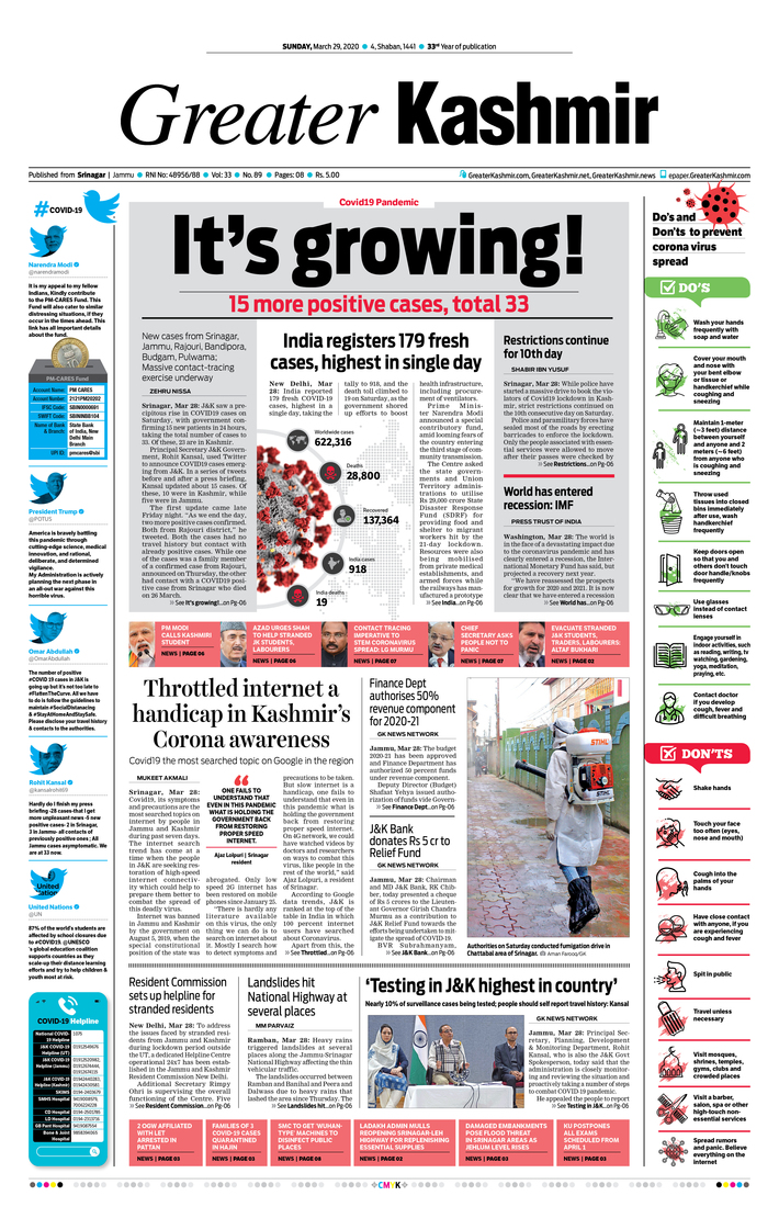 front page_Greater Kashmir