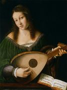 Bartolomeo Veneto - Woman with Lute - S. XVI