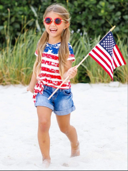 Mommy & Me 4th of July Themed American Flag Side Knot Top