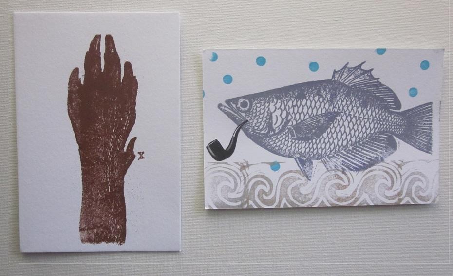 Gocco prints - paw and fish