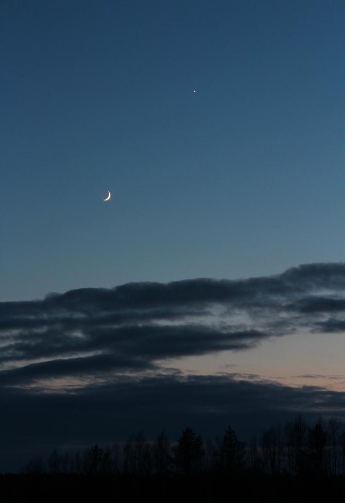 Månen & Venus i solnedgången