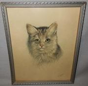 P.H. Schor Vintage Print 1 of 2 of Cat