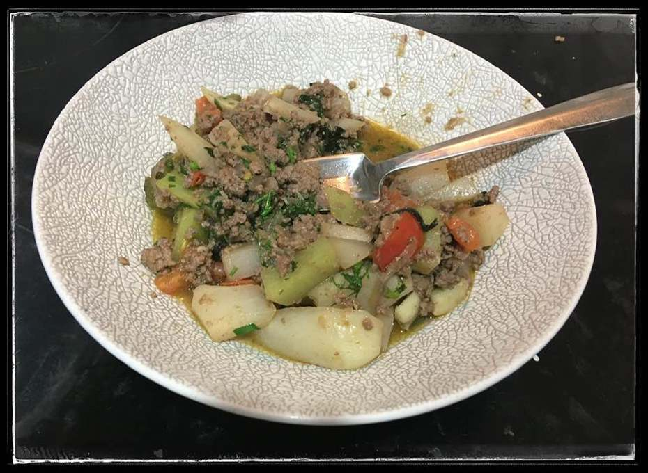 Braised Choko (Chayote) with Minced Meat