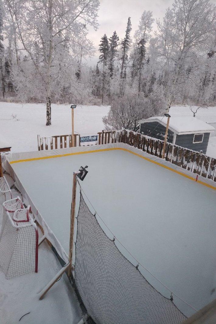 Frosty backyard rink for Christmas