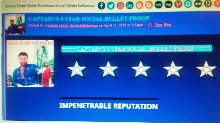CAPTAIN'S 5 STAR SOCIAL BULLET PROOF PIC