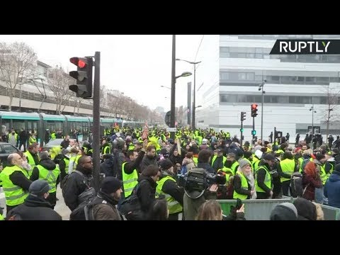 RT LIVE Yellow Vest protests held in Paris for 7th week in row