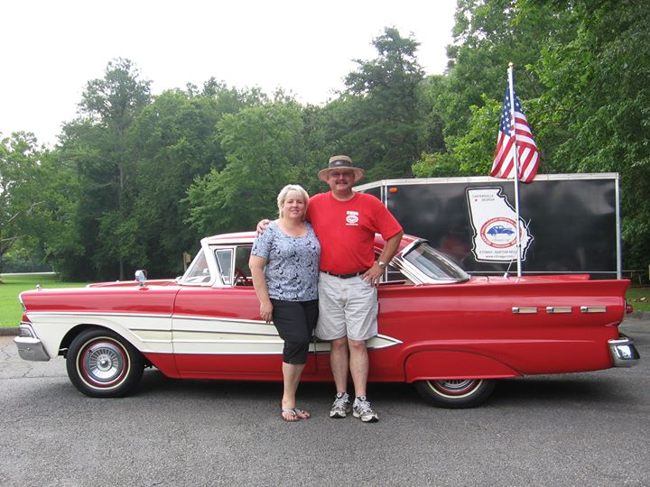 1958 Ford Redbird and my wife with me 7.19.2011
