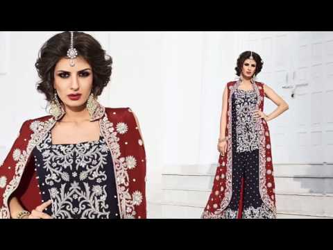 indian wedding dresses:  latest designer wedding Suits & Short Kurta Pajama Style Heavy Sarara Suits