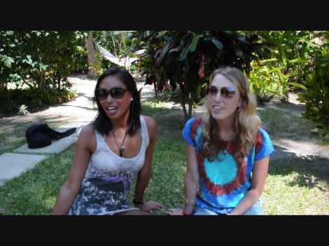 Jen and Lauren from the United States discuss their arrival at Octopus Resort, Fiji