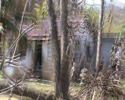 Houses at Tabiang Rabi Island devasated Cyclone Tomas