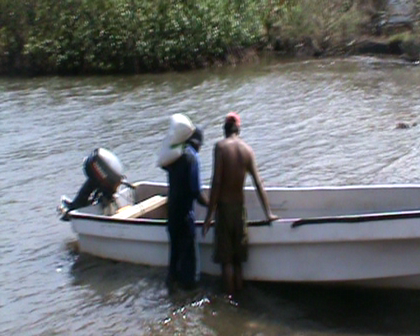 Arriving Nasau settlement Rabi Fiji with food aid