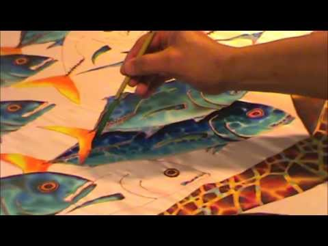SILK PAINTING WITH JEAN-BAPTISTE - SEA TURTLE