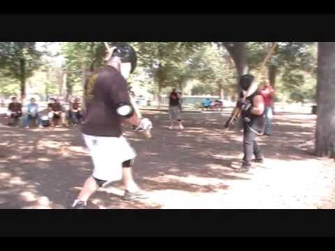 Dan's 1st Time Fighting w/ Staff & Andre [Houston Stick Fighting Association Gathering]