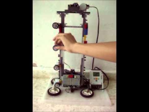 "Ascensor de 4 pisos con lego NXT.Lego NXT ""building a 4-level elevator"