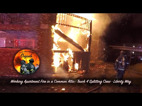 Working Apartment Fire in a Common Attic • Truck 4 Splitting Crew • Liberty Way