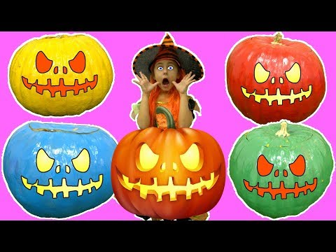 Bad Baby Learn Colors with Halloween Pumpkins Finger Family Nursery Rhymes Songs
