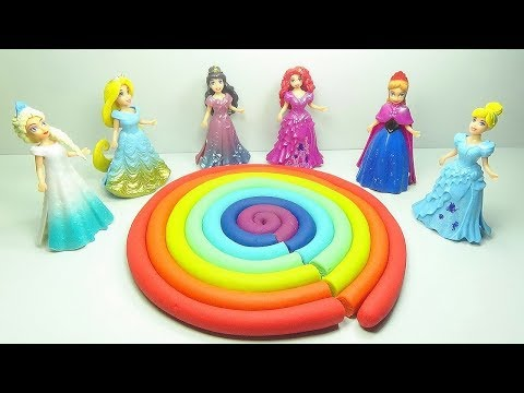 Play Doh Learn Colors Rainbow With Disney Princess Hello Kitty Cat Straberry Lollipop Rainbow Videos
