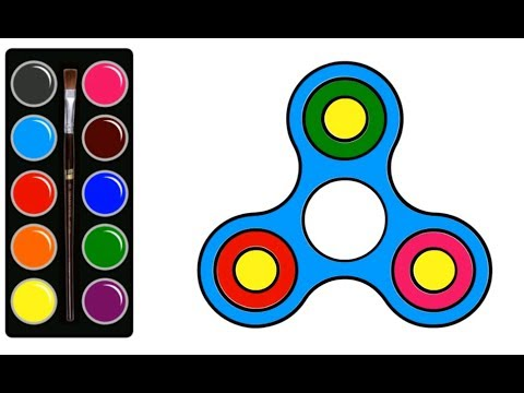 FIDGET SPINNER How To Draw and Color this toys for kids. Learn Art Colors with Colored Markers