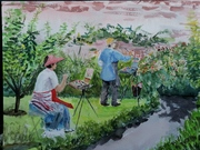 Deirdre painting in Colclough walled garden IMG_20190801_201217