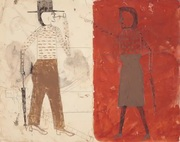 BILL TRAYLOR Man on White, Woman on Red