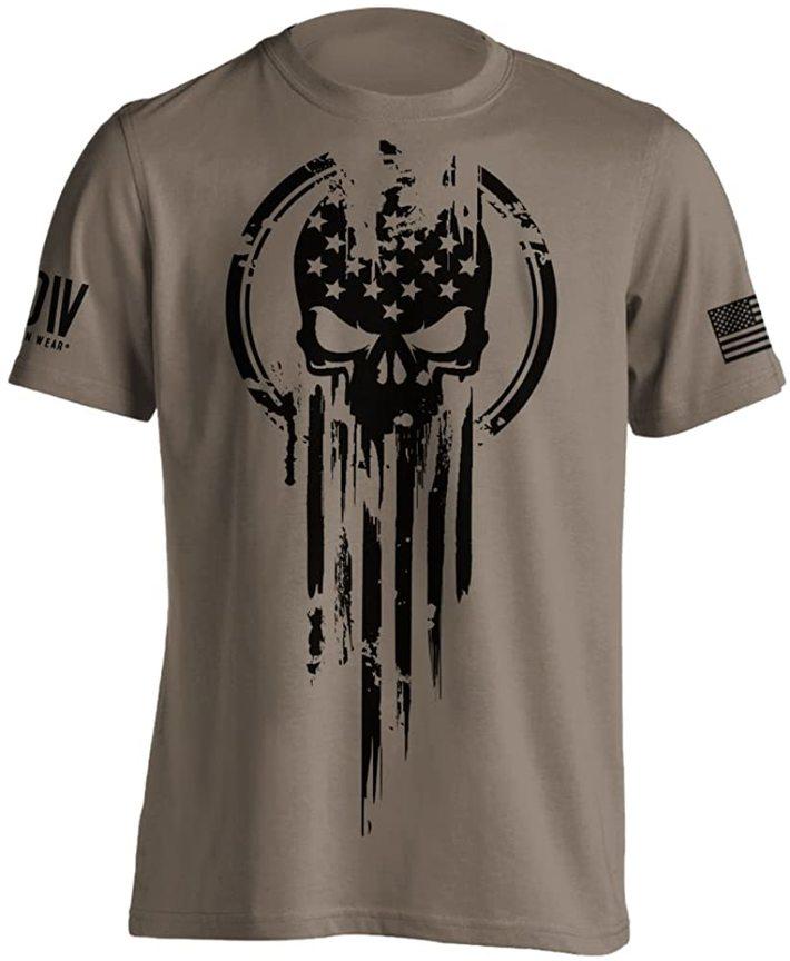 American Warrior Flag Skull T Shirt