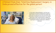A Patient from Iran: Total Disc Replacement Surgery in India proved effective for the global patient