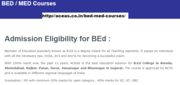 Admission in BEd/Med College