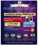 """National Level Webinar on """"Managing a Library Using Google Tools"""""""