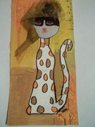 To Bonnie Diva- Spotted Cat with Tulle Hat