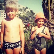 Ed and sister Anna in Marjorca summer 1974