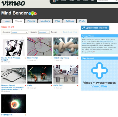 Mind Benders vimeo group with videos that are different and creative