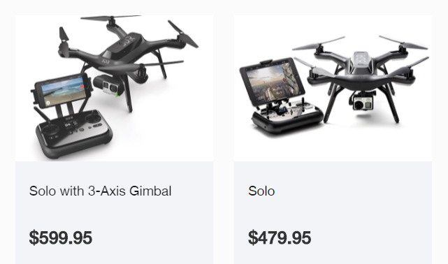 July 4th sale on 3DR Solo: $479 without gimbal, $599 with