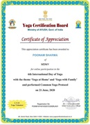 POONAM SHARMA  - Yoga Certificate